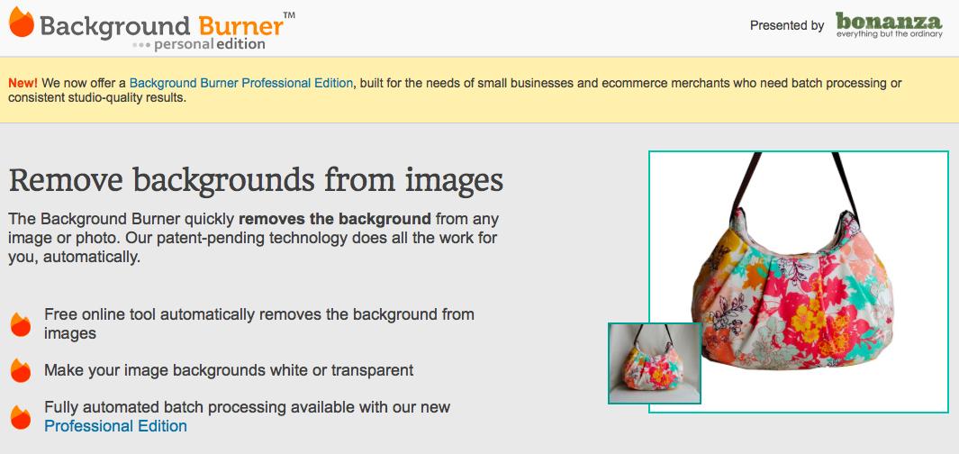 Background burner背景を透明にできるサイト
