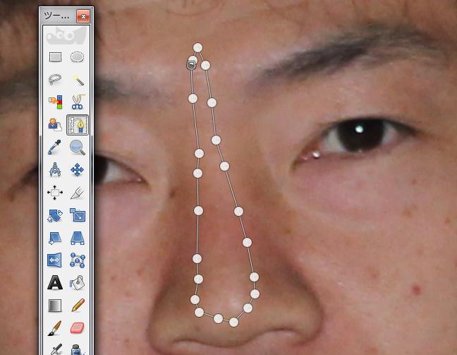 無料の画像編集ソフト「GIMP」を使って、鼻を高くする方法