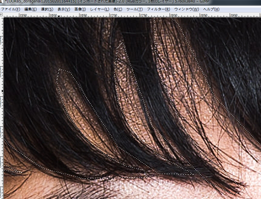 画像編集ソフトGIMP 「トーンカーブ」を使用した髪の色の変更方法「アッシュ系の色に」